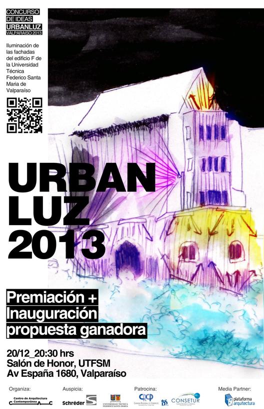 Inauguración de intervención urbana  en emblemática fachada de la Universidad Técnica Federico Santa María , Croquis ganador. Image Courtesy of CAC