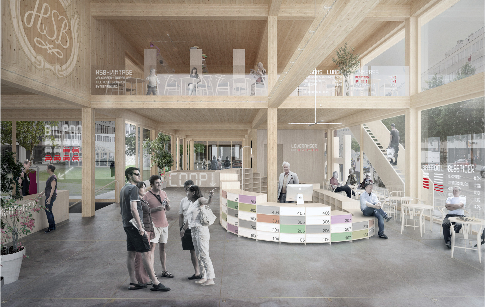 C.F. Møller And DinnellJohanssonu0027s Wooden Skyscraper Wins International  Competition,Fleminggatan 4: View Of Communal