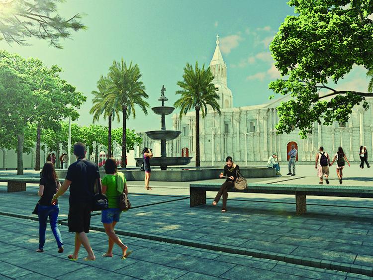 "Primeiro Lugar no ""Concurso de Ideias de tratamento para pedestres da Plaza de Armas de Arequipa"", Cortesia de Equipe Primeiro Lugar"