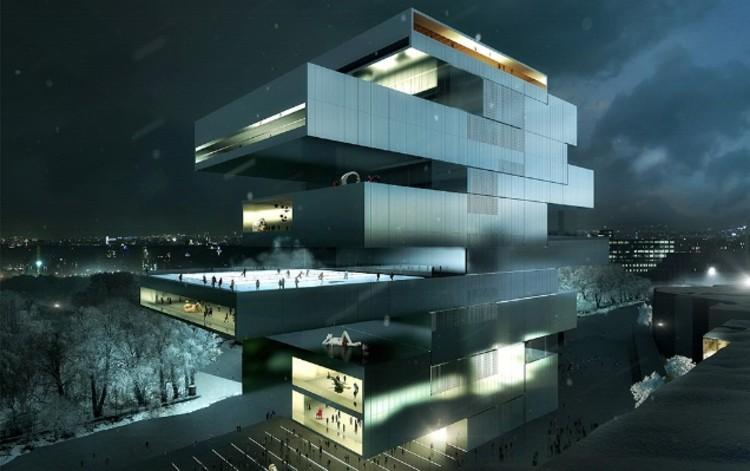 Anunciados os três finalistas para o Centro de Artes Contemporâneas de Moscou, Proposta de Heneghan Peng Architects. Cortesia de NCCA