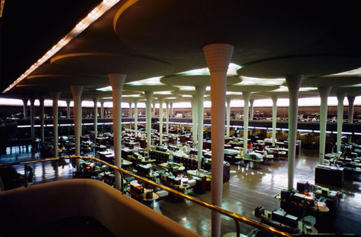 A Bad Month for Frank Lloyd Wright Fans, The SC Johnson Administration building, featuring Wright's (now controversial) desks. Image © Jeff Dean