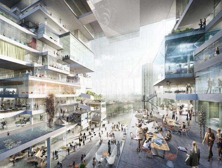 BIG, OMA e Büro-OS competem para construir novo Media Campus em Berlim, Proposta de Büro-OS. Imagem Cortesia de Axel Springer SE
