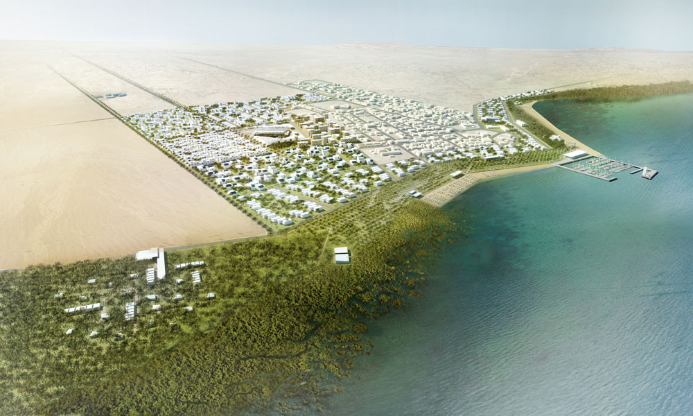 RRC Studio Design Residential & Commercial Expansion for Al Dhakira, Aerial view. Image Courtesy of RRC Studio