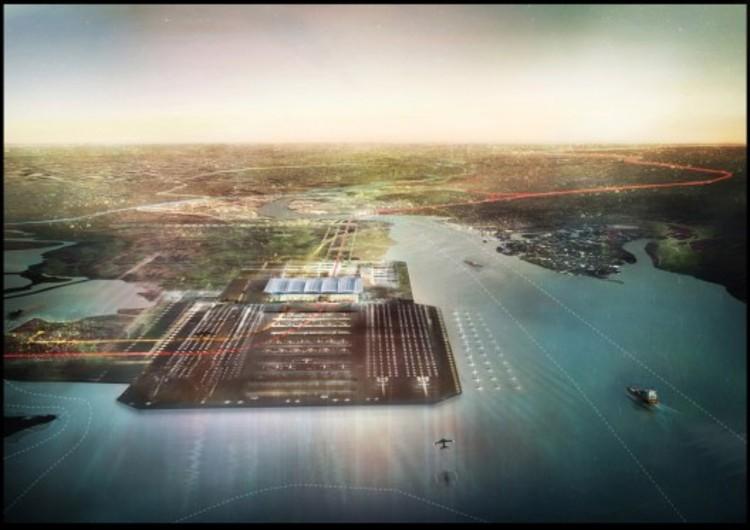 Proposta de Foster + Partners para aeroporto no rio Tâmisa corre o risco de ser descartada, Proposta de Foster + Partners para o Thames Hub. Cortesia de Foster + Partners