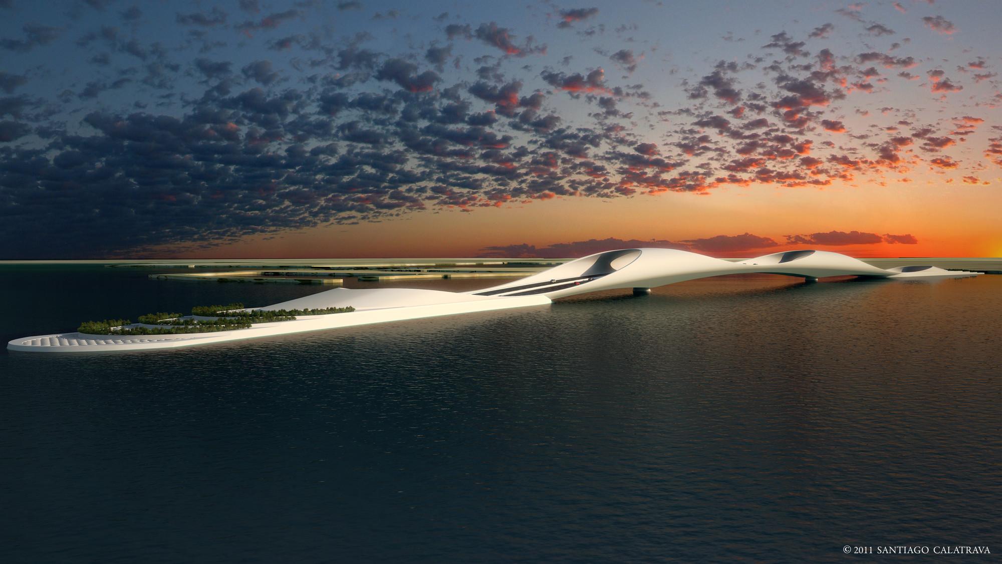 "Calatrava's ""Sharq Crossing"" Planned for Doha Skyline, © Santiago Calatrava"