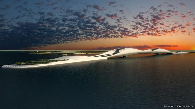 """Projeto """"Sharq Crossing"""" de Calatrava para o skyline de Doha, Cortesia de Santiago Calatrava"""