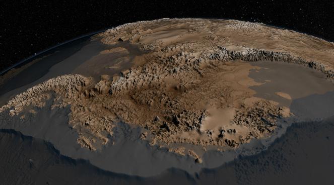 Científicos crean un mapa detallado del territorio Antártico bajo la nieve y el hielo, © NASA