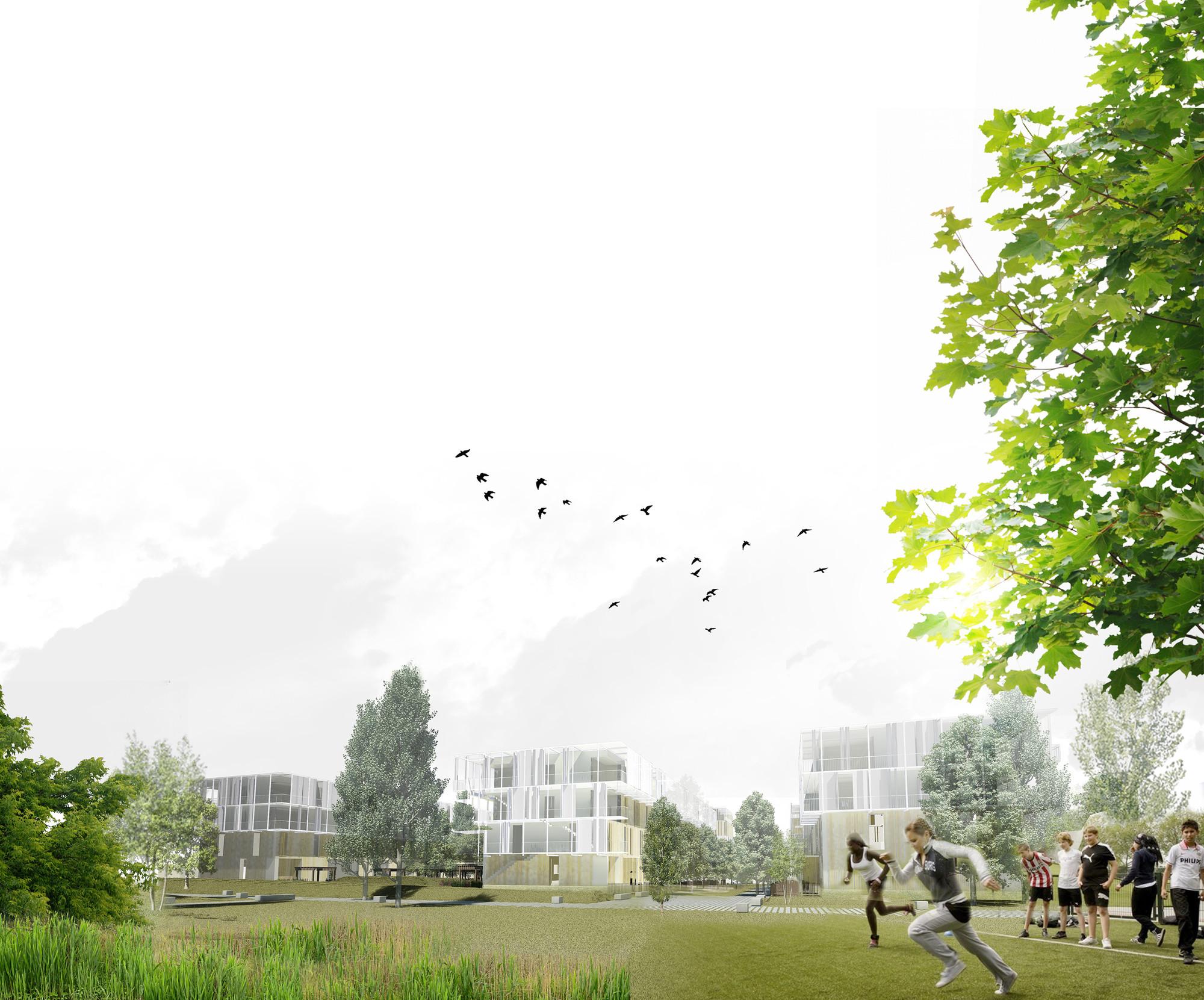 """Primer Lugar Concurso de viviendas y espacio verde público en """"Plateau de Kirchberg"""", Luxemburgo, Courtesy of Equipo Primer Lugar"""