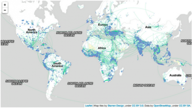 Os dados do Facebook sobre migração e o crescimento das megacidades, Migração coordenada no mundo