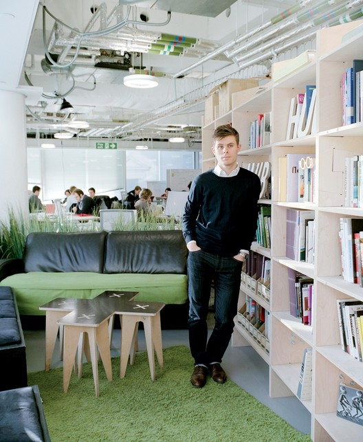 Game Changer: Alistair Parvin, Parvin's WikiHouse team shares a floor in London with 00:/ design studio, operating in a space pro- vided by Hub Westminster, a collaborative of creative and social enterprises. Image © Kate Peters via Metropolis Magazine
