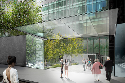 Rendering of the garden entrance of the new MoMA, by Diller Scofidio + Renfro. Image Courtesy of MoMA