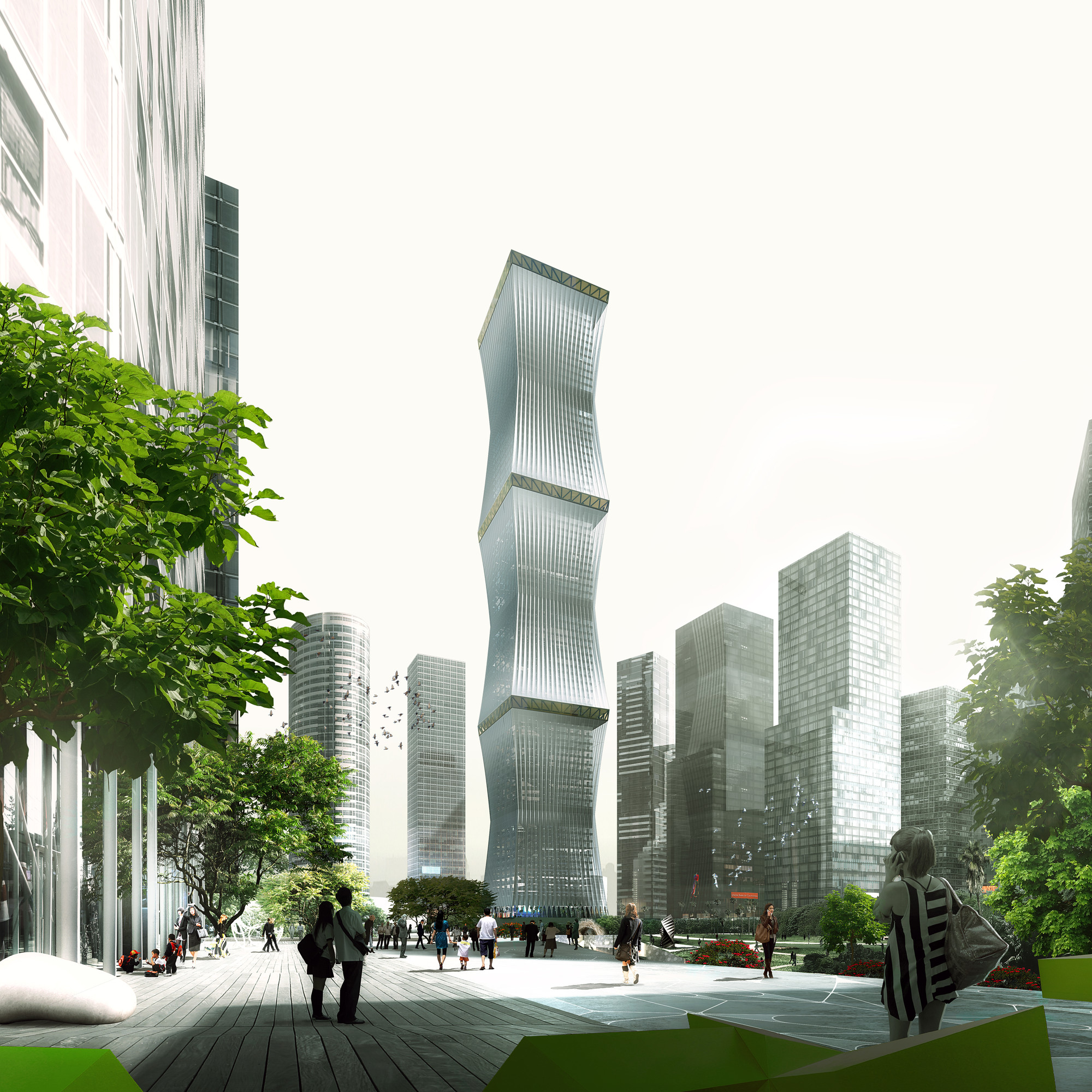 REX Proposes Retractable Facade for 'Equator Tower' in Malaysia, View from Northwest Gateway. Image © Luxigon