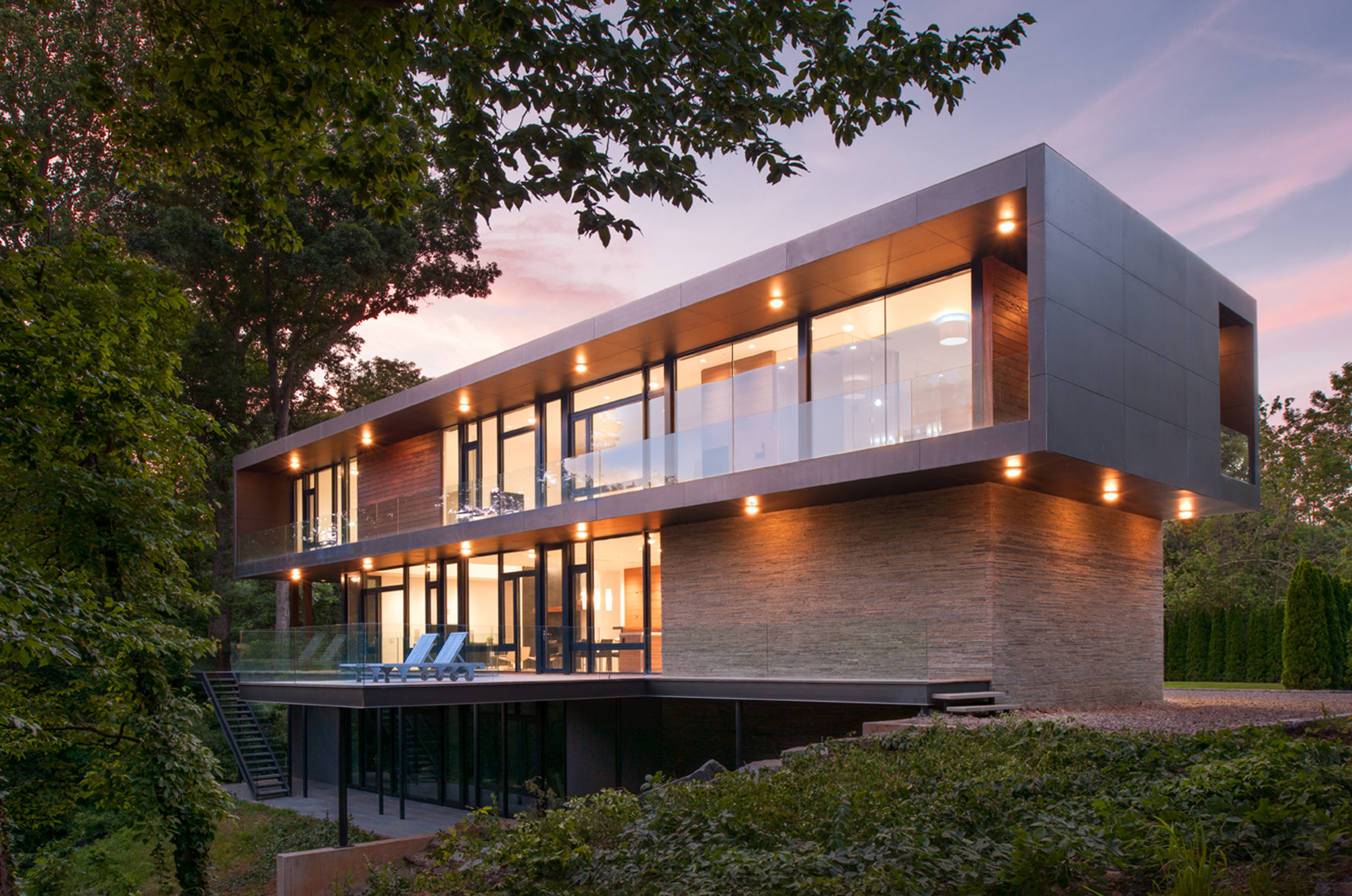 Floating Glass Box House