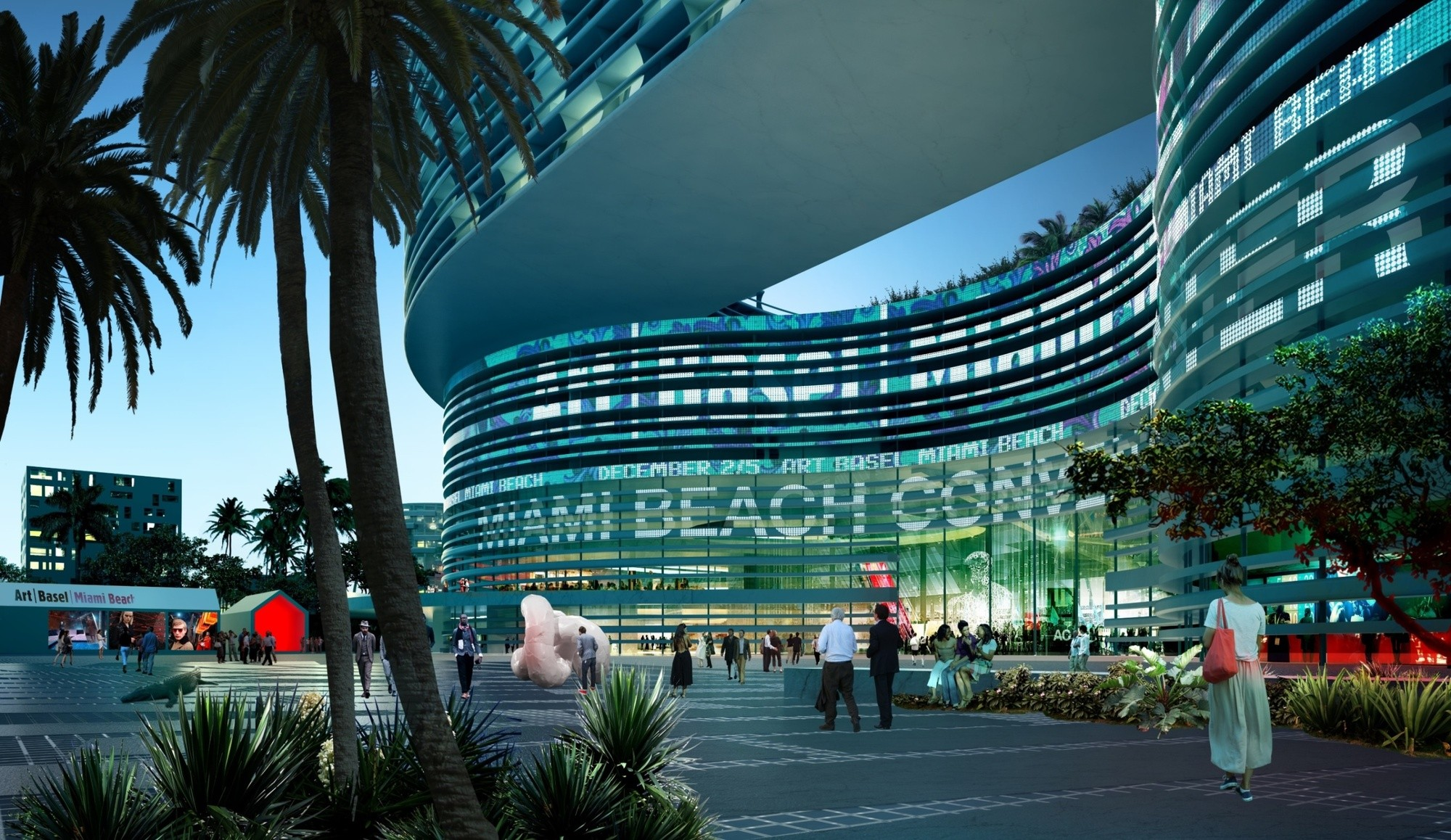 Miami Beach Scraps OMA's Winning Convention Center Design, Proposed Convention Center Entrance. Image © OMA