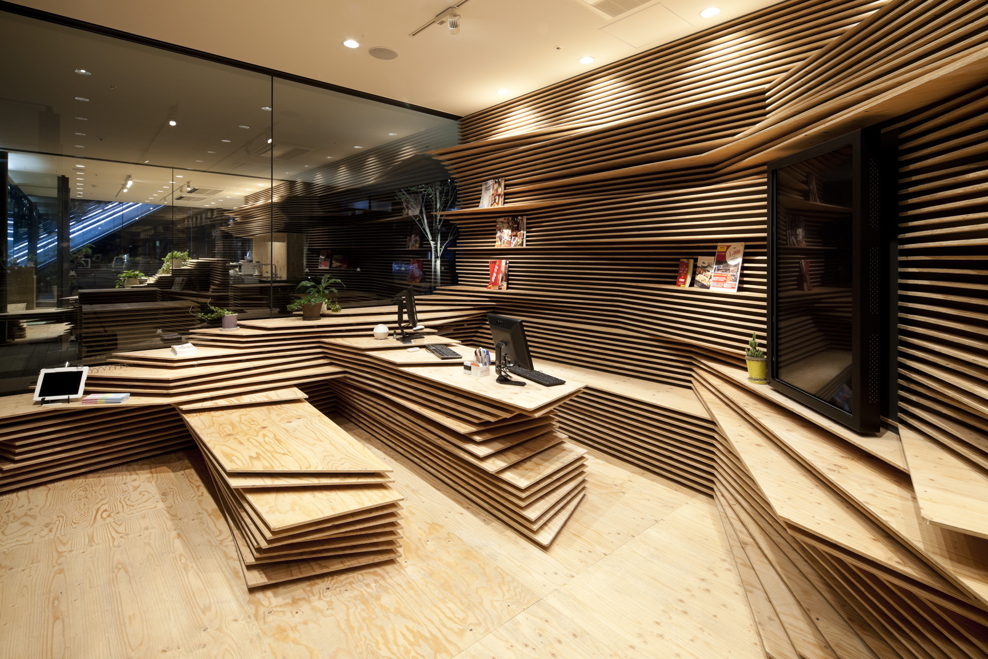 Shun shoku lounge by guranavi kengo kuma associates for Woodworks design office 8
