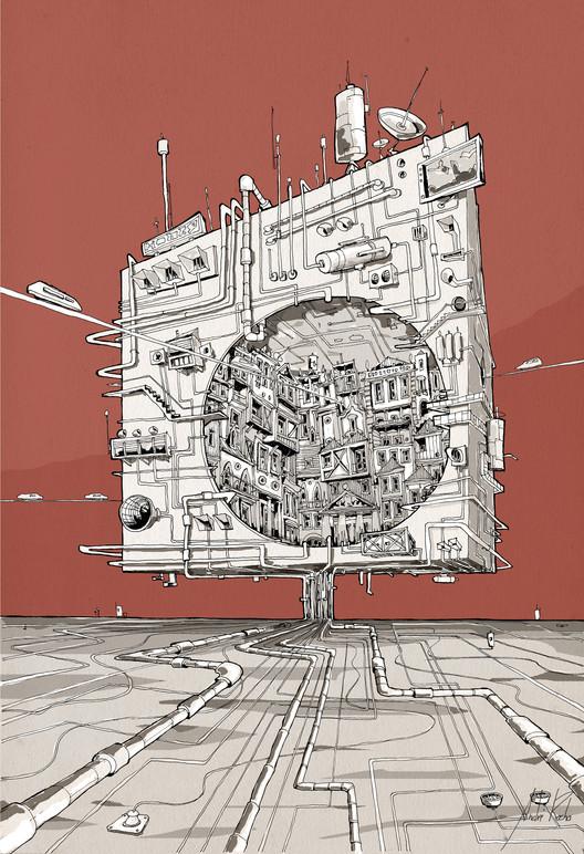"""Arte e Arquitetura: """"A Persistência do Traço"""" por André Rocha, City Cube 2 © André Rocha"""
