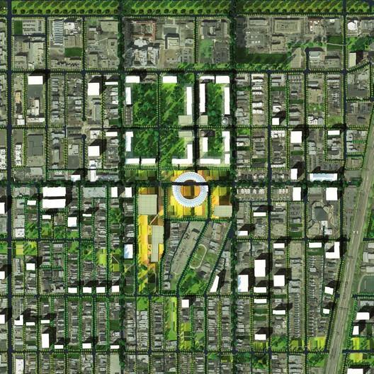 Plan View Depicting Future Library Bridging 63rd Street. Image Courtesy of Michael Sorkin Studio