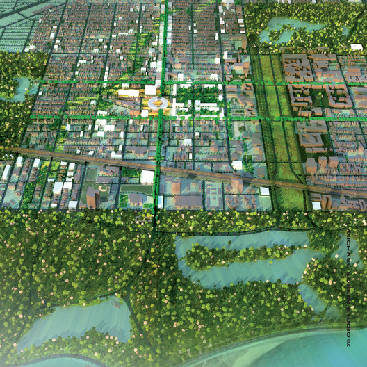 Aerial of Proposed Presidential Center. Image Courtesy of Michael Sorkin Studio