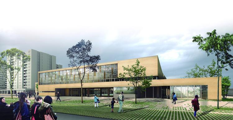 Primeiro Lugar no Concurso Público para o projeto de colégios em Bogotá, Vista acesso principal. Imagem Cortesia de FP – escritório de arquitetura + Arq. Camilo Foronda