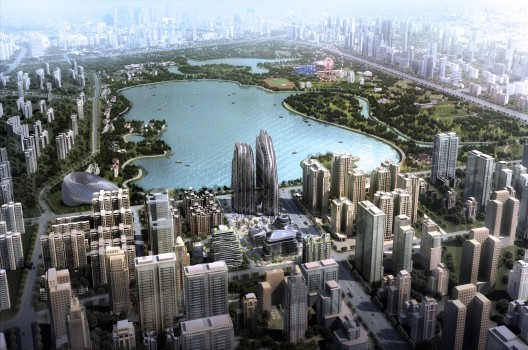 """Chaoyang Park Project, a continuation to  a continuation of the """"Shan-Shui City"""" concept, by MAD Architects. Image © MAD Architects"""