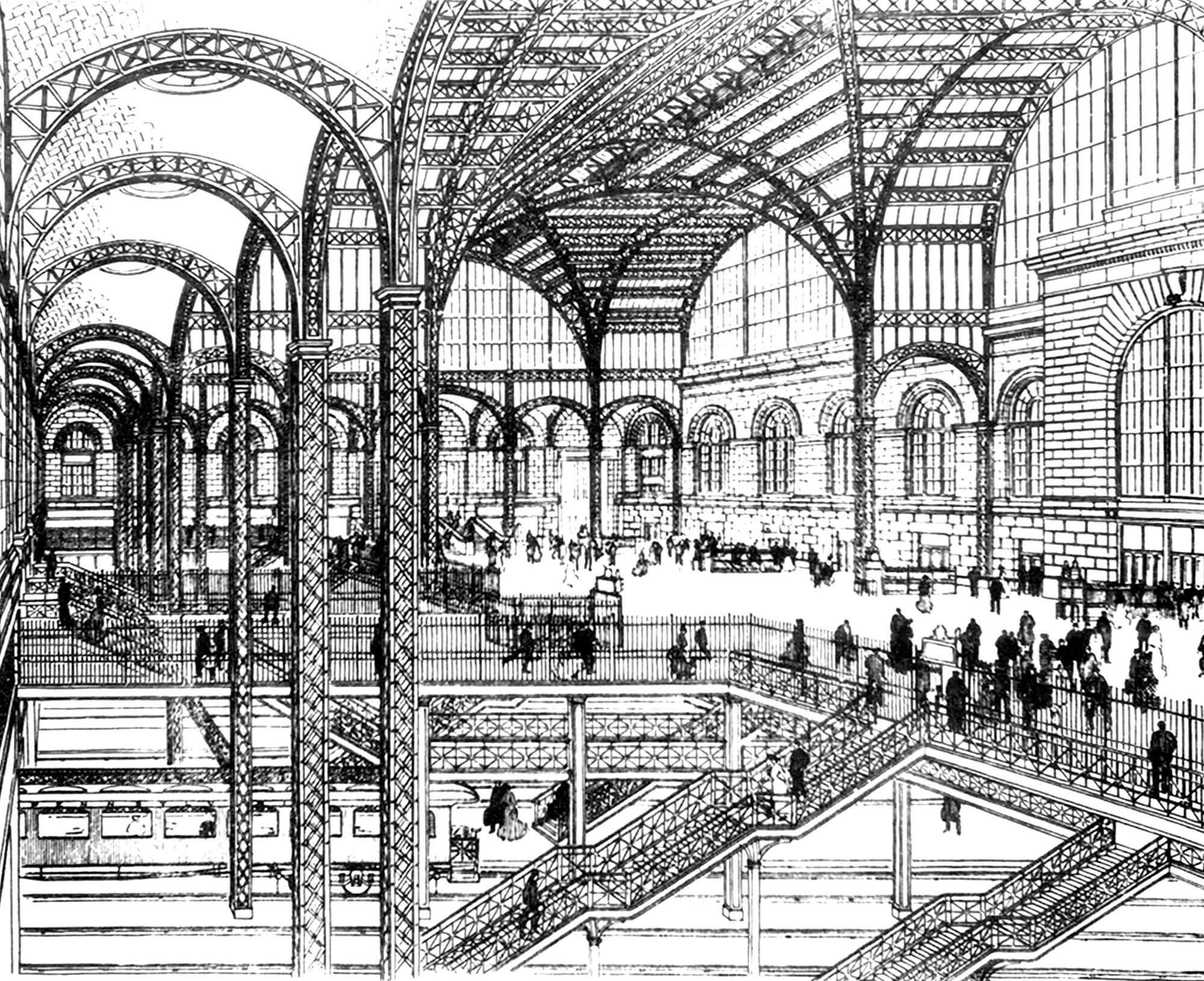 how to draw railway station