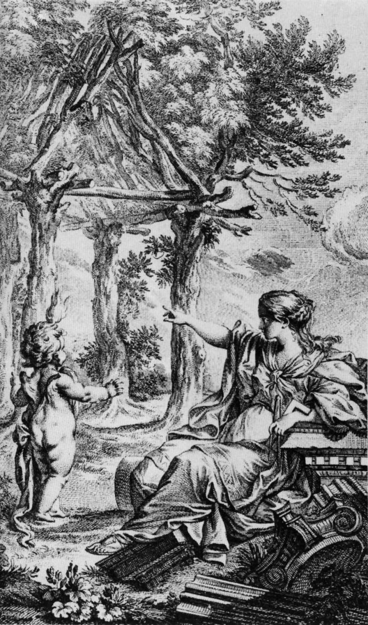 "Gravura de Charles-Dominique-Joseph Eisen para a segunda edição de ""Essai sur l'architecture"" de Marc-Antoine Laugier"