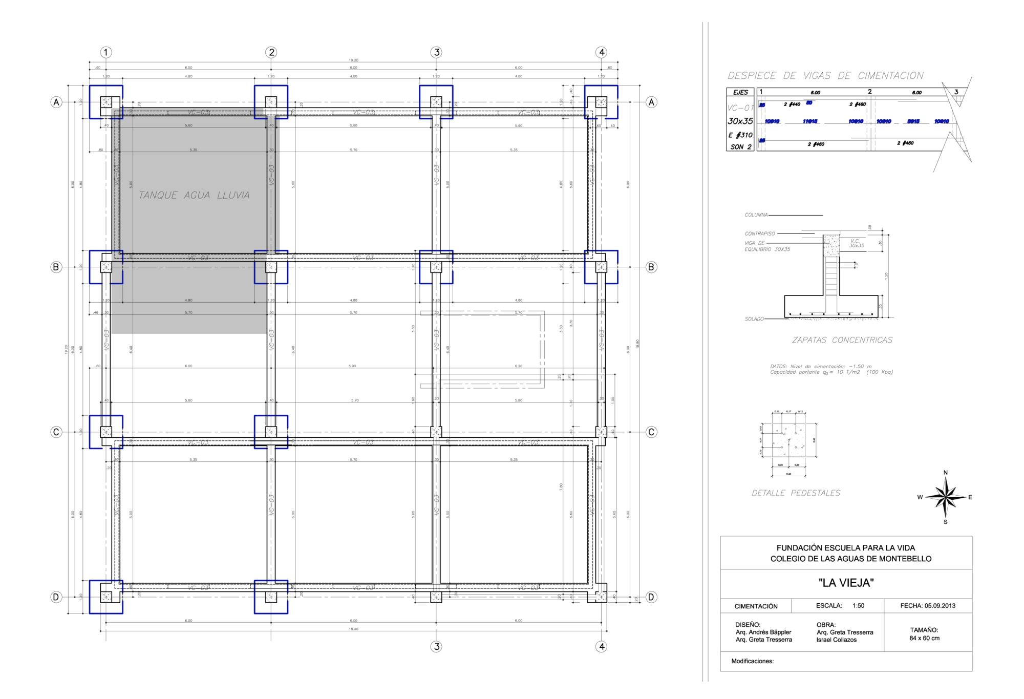 Planta de cimentacion casa construccion pdf