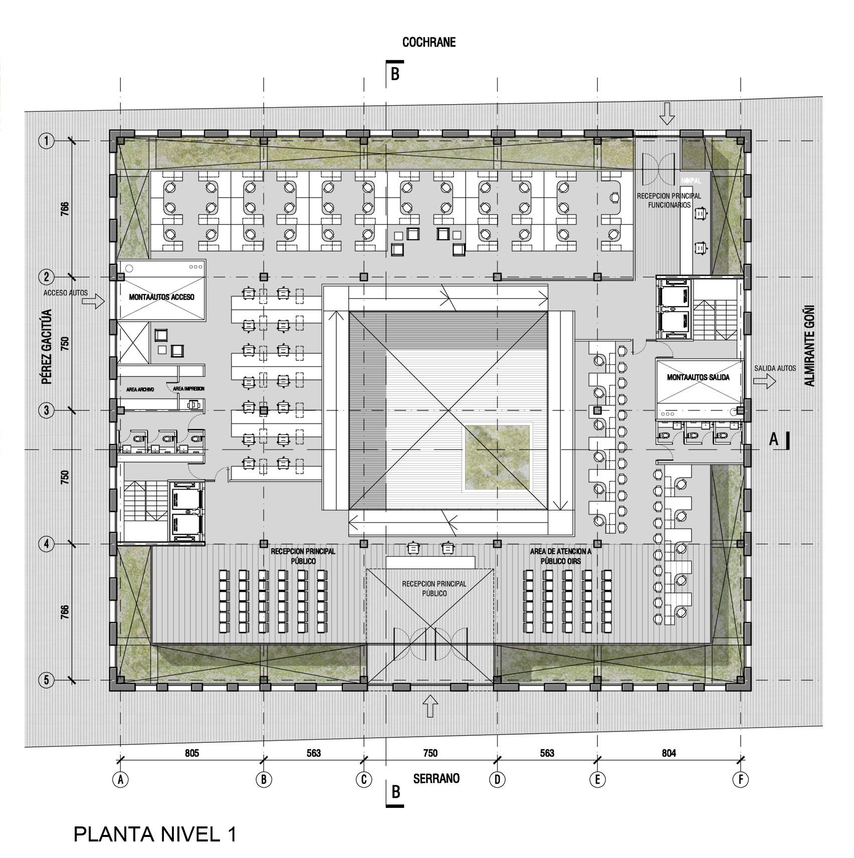 Galer a de gubbins arquitectos dise ar edificio for Planta arquitectonica de una oficina