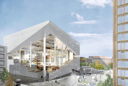 For the recent Axel Springer SE Media Campus in Berlin, OMA's proposal (shown) is up against designs by two of OMA's past employees.. Image Courtesy of Axel Springer SE