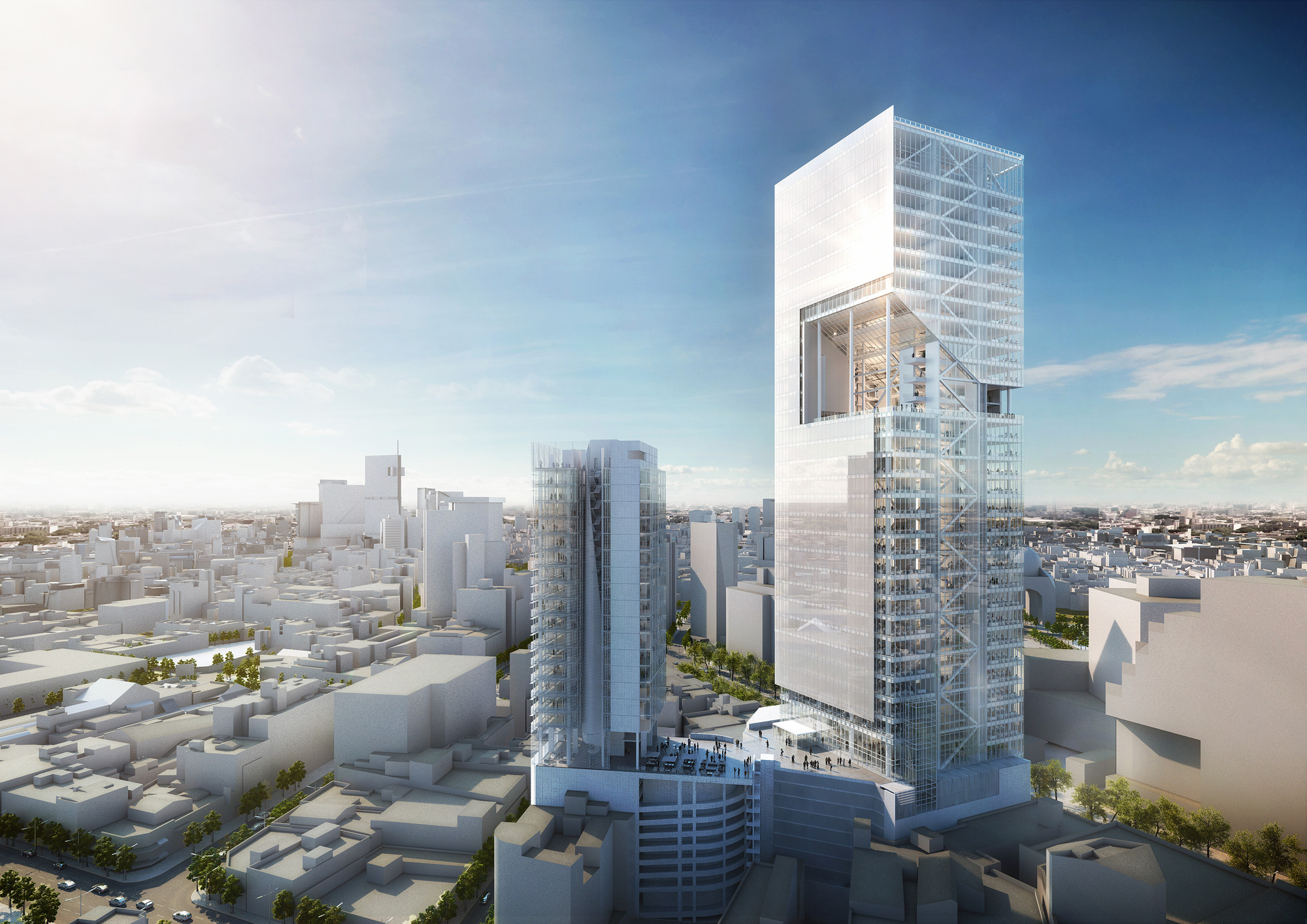 Richard meier unveils 180 meter tower development in mexico richard meier unveils 180 meter tower development in mexico reforma towers image courtesy sciox Images