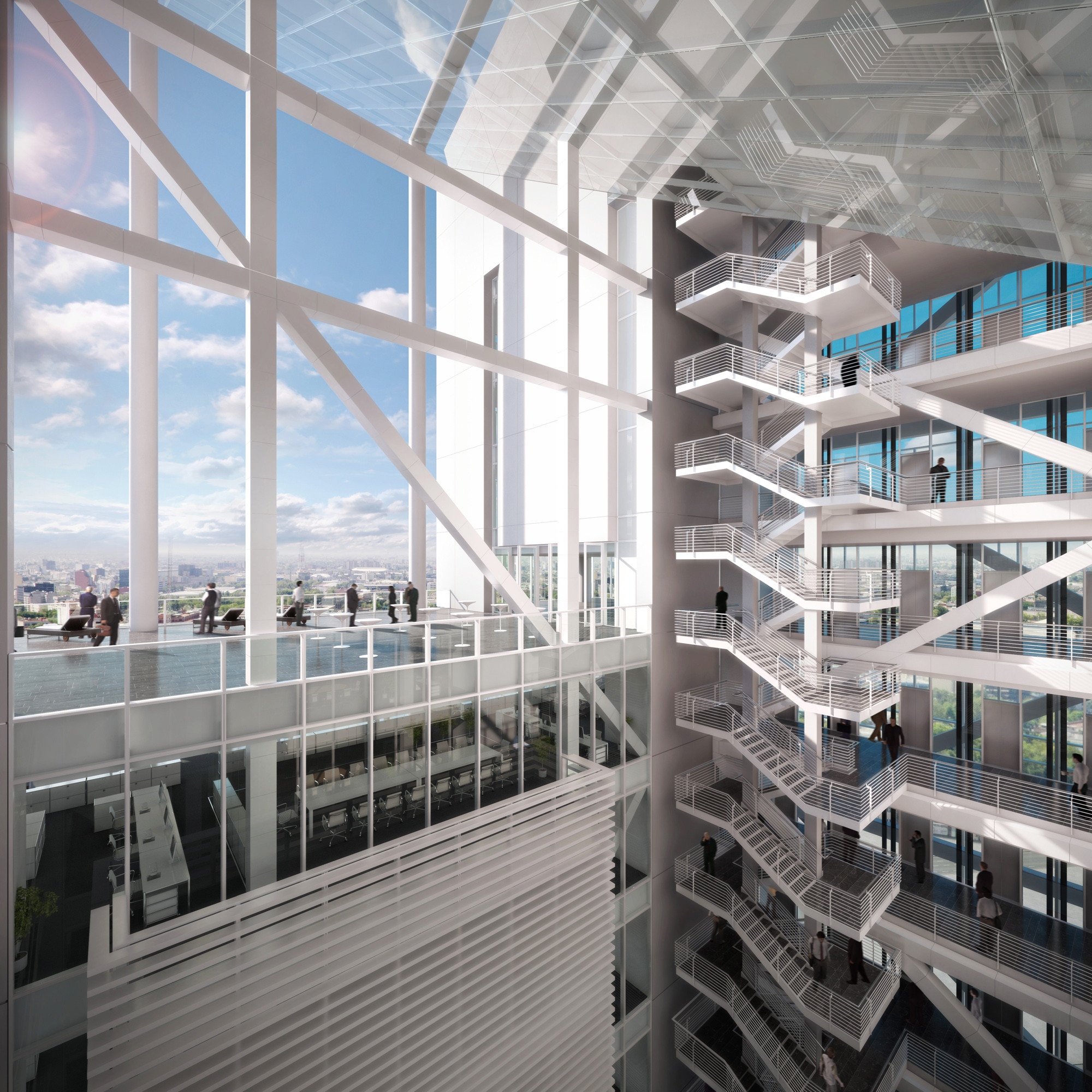 Richard meier unveils 180 meter tower development in mexico office atrium and central void image courtesy of richard meier partners sciox Images