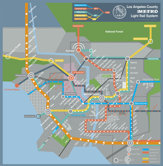 "LA's Future Subway System, as depicted in Spike Jonze's ""Her"". Image © Geoff McFetridge and Untitled Rick Howard Company LLC, via The Atlantic Cities"