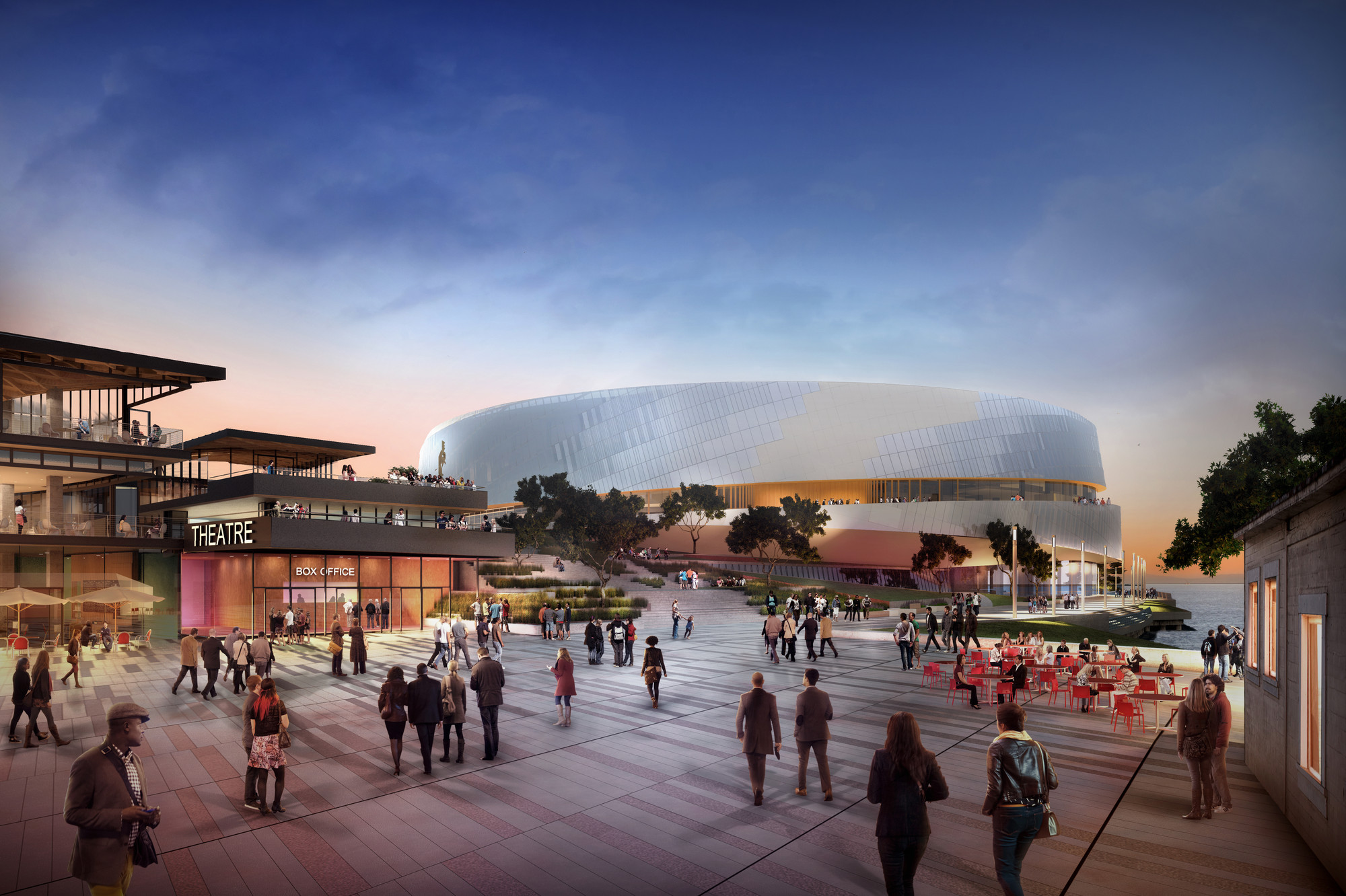 Snøhetta Unveils Version 3.0 of San Francisco's Golden State Warriors' Stadium, Version 3.0: Arrival onto Pier; Rendering by steelblue. Image Courtesy of Snøhetta