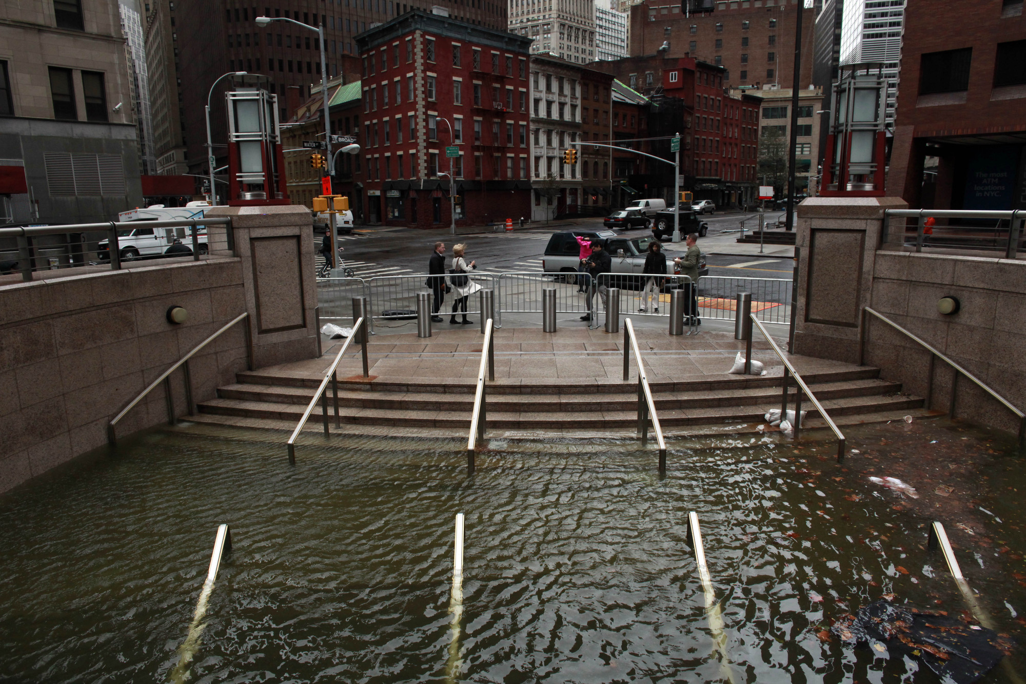 Case Studies in Coastal Vulnerability: Boston, Seoul, Hamburg, Bangladesh & New York, Water floods the Plaza Shops in Manhattan after Superstorm Sandy, 2012. Photo: Allison Joyce/Getty Images.