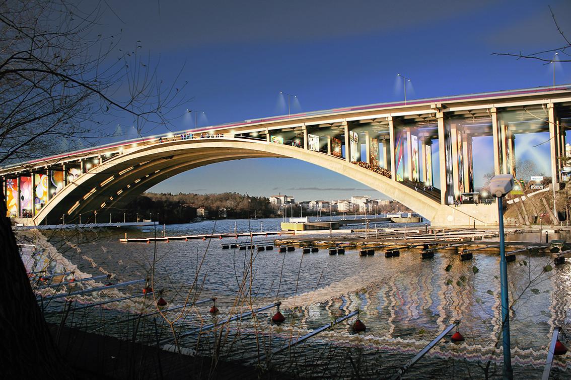 Visiondivision Proposes Pedestrian Promenade Beneath Stockholm Bridge , © visiondivision