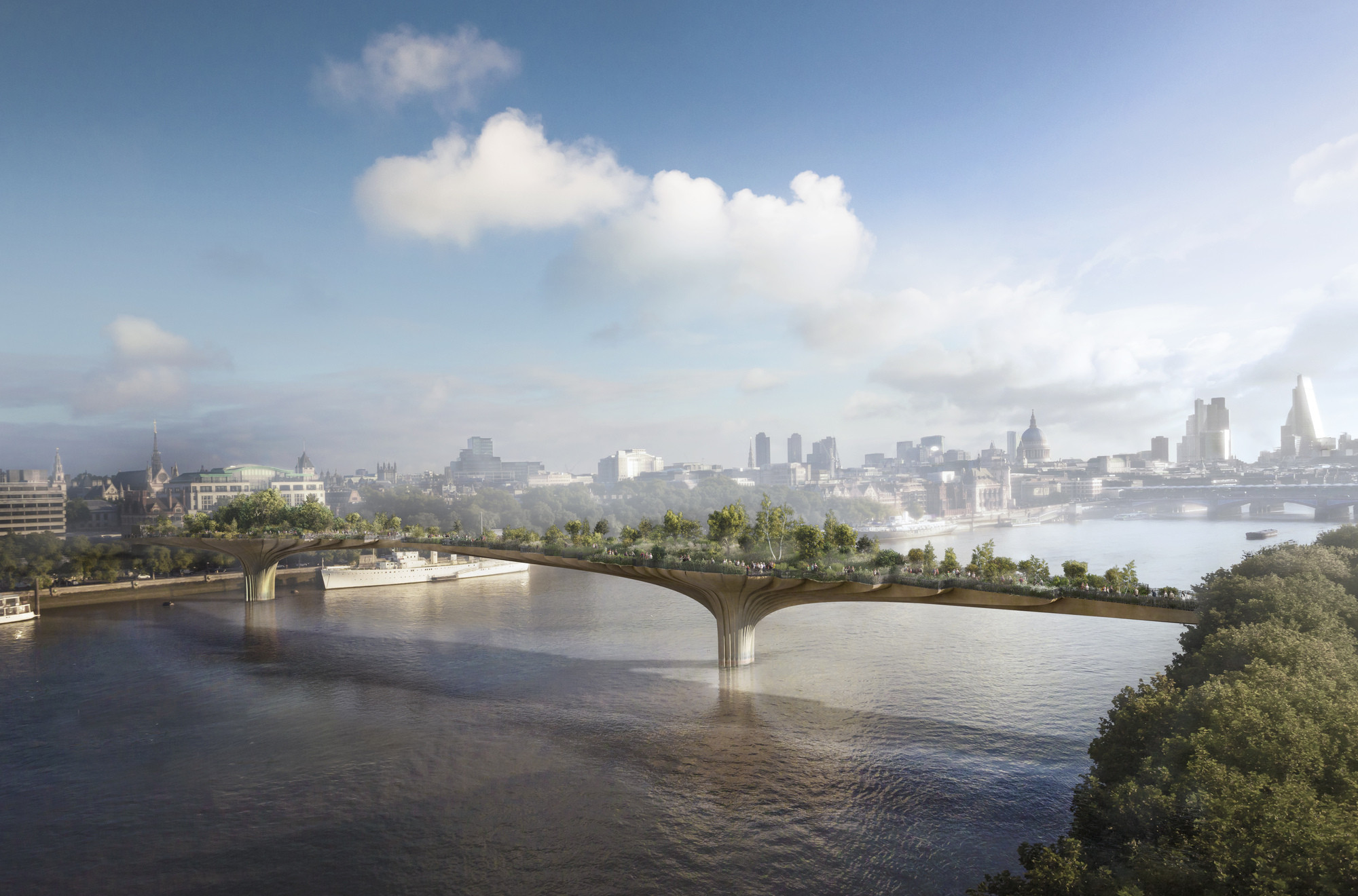 London Calling: The 'Practical' Architect, Thomas Heatherwick and Arup's plans for a new, 367-meter long 'Garden Bridge' that will span the river from Temple to the Southbank (more renderings at http://www.archdaily.com/389848/thomas-heatherwick-designs-garden-bridge-in-london/). Image Courtesy of Arup