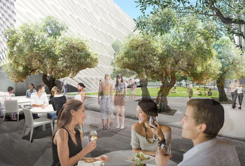 Diller Scofidio + Renfro Designs Public Plaza, Restaurant for LA's Broad Museum, © Diller Scofidio + Renfro, via Designboom