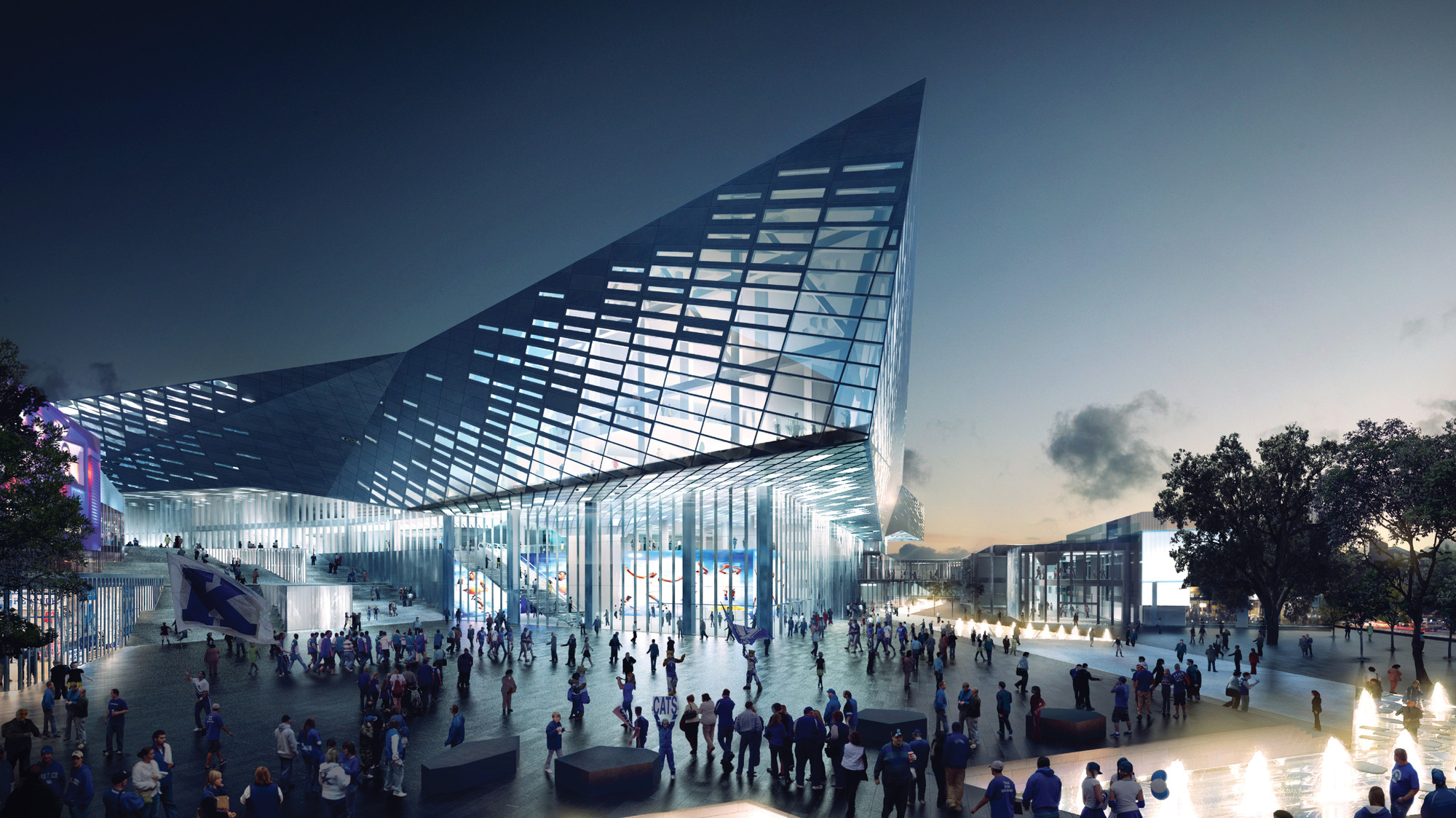 NBBJ Unveils $310 Million Renovation for Kentucky's Rupp Arena, Rupp from Triangle Park. Image © NBBJ + EOP + SCAPE