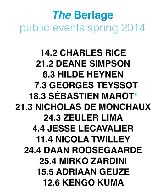 The Berlage Public Events Spring 2014