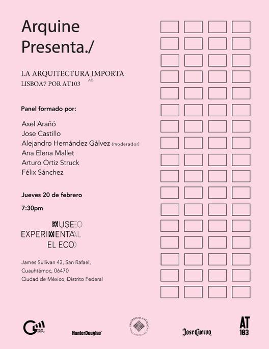 """Presentación del libro """"La Arquitectura (no) importa LISBOA7 por AT103"""