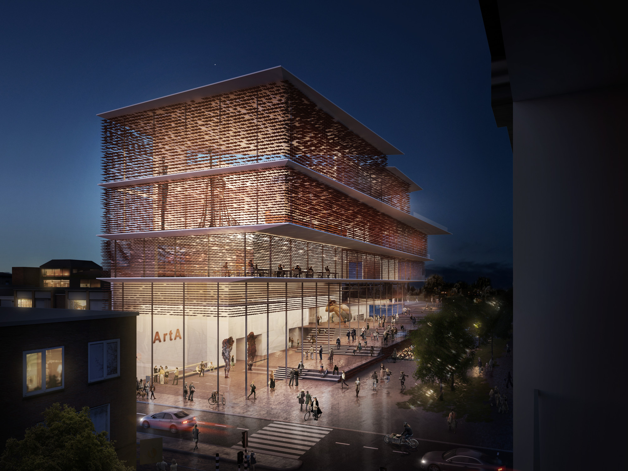 Kengo kuma presents shortlisted design for arta civic for Architecture art