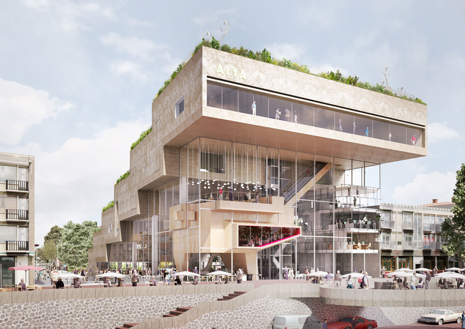 NL Architects Shortlisted to Design ArtA Cultural Center in Arnhem , Rhine View. Image Courtesy of NL Architects