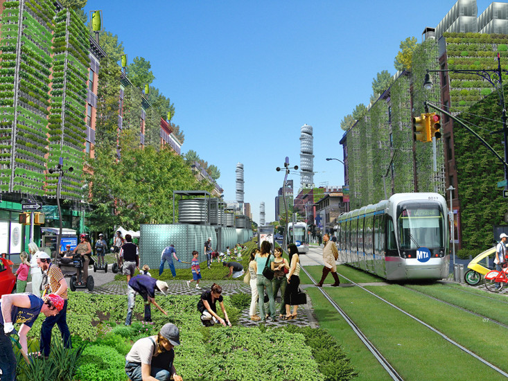 A Vision for a Self-Reliant New York, Street view of Amsterdam Ave. in northern Manhattan featuring a mix of traditional and advanced agricultural growing techniques. Image Courtesy of Terreform
