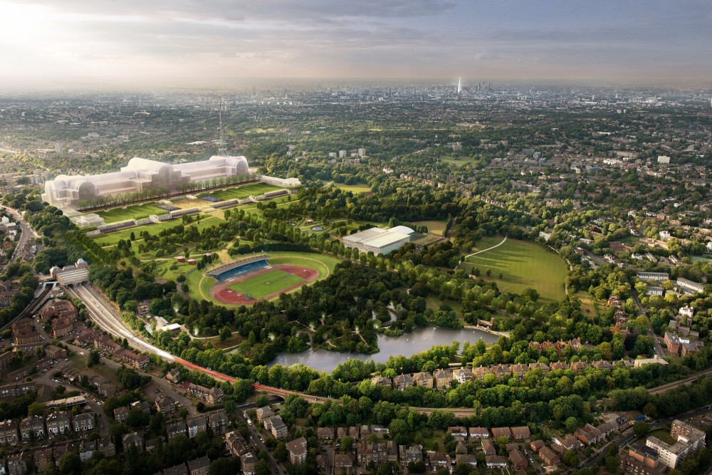 Six of Britain's Best Shortlisted for Crystal Palace Project, Aerial view of site for Crystal Palace rebuild. Image Courtesy of ZhongRong Group