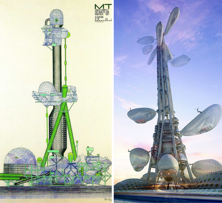 Las mismas utopías: Megaestructuras del pasado vs Megaciudades del futuro, Torre Pabellón_ Peter Cook  (1967) v/s Taiwan Tower, Dorin Stefan Birou Ahitectura (2012)