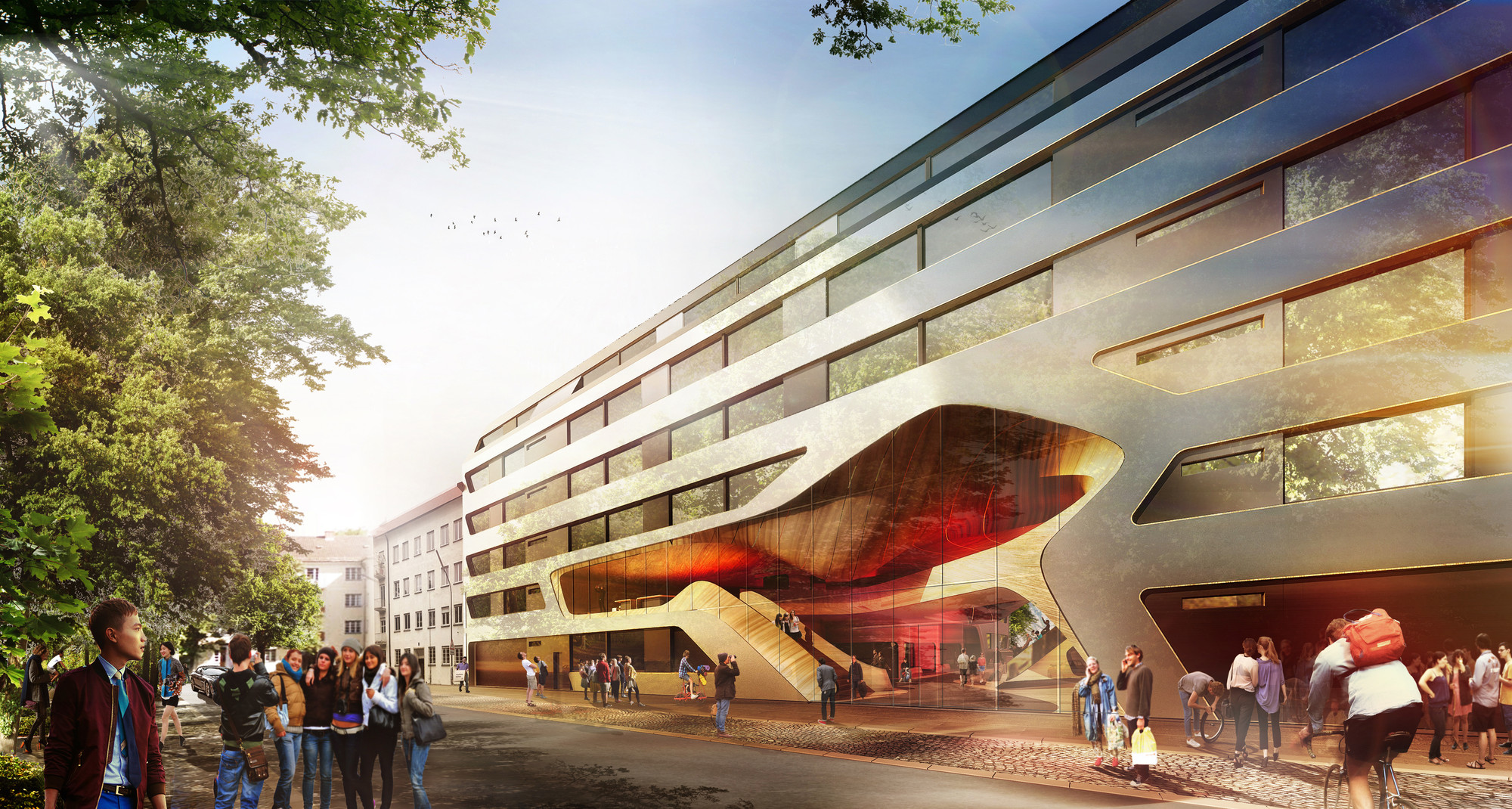 GRAFT Wins Competition to Restore and Extend Youth Hostel in Munich, Room. Image Courtesy of GRAFT Architects
