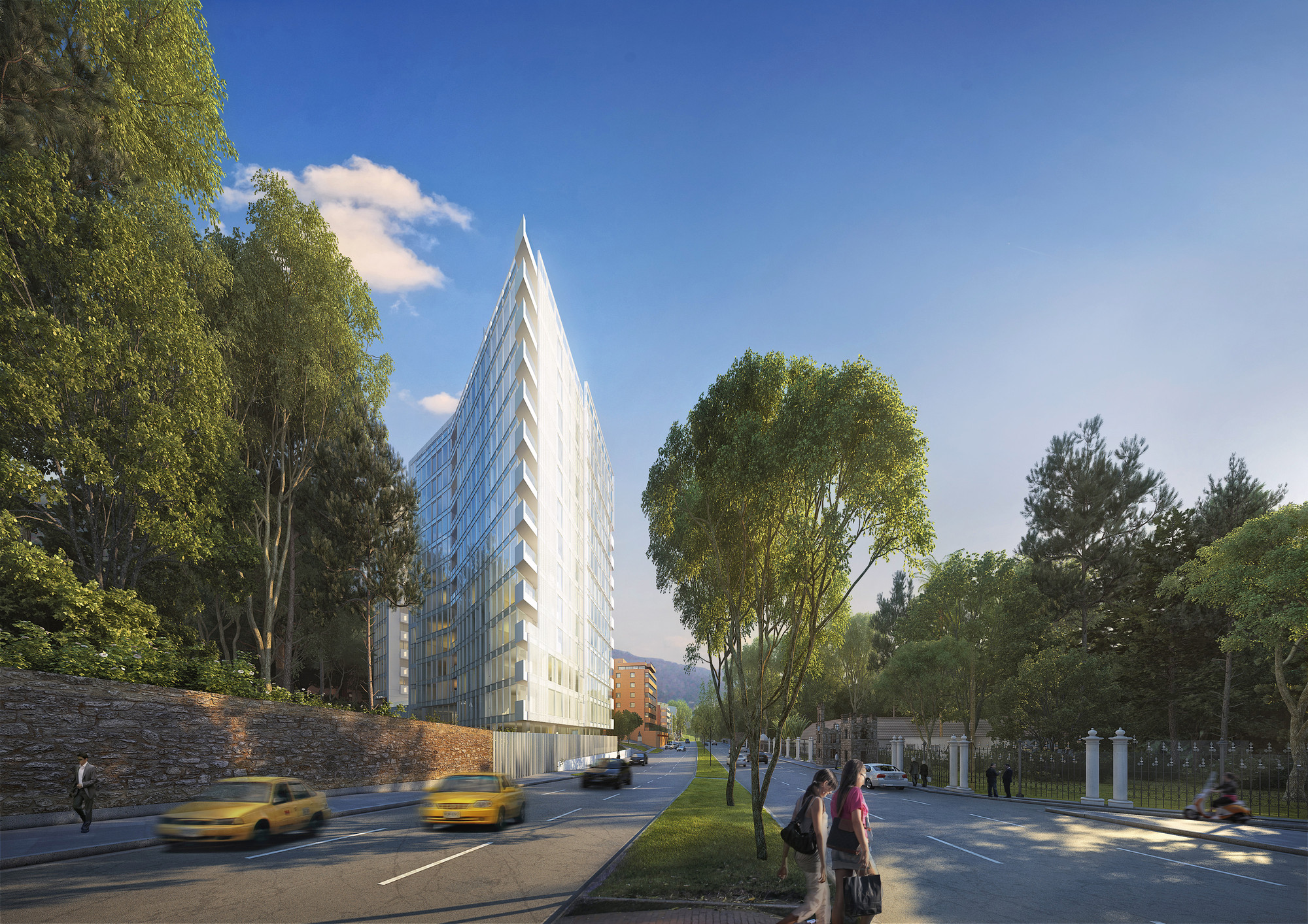 Richard Meier Designs Two-Tower Residential Development for Bogota, North View. Image Courtesy of Richard Meier & Partners
