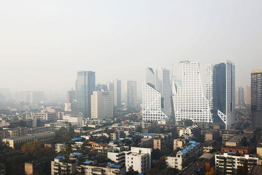 A view of the Sliced Porosity Block in Chengdu. Image © Shu He