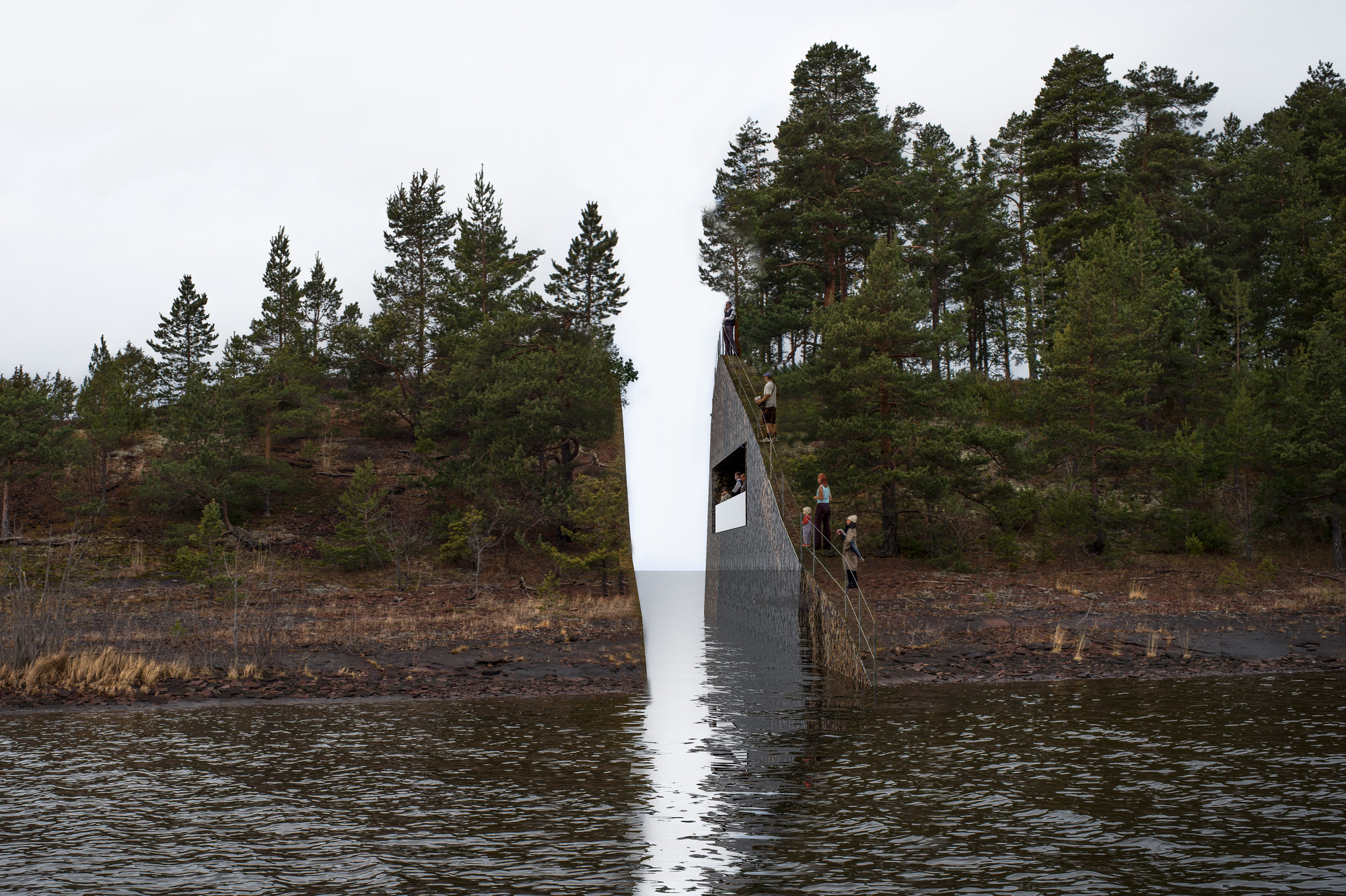 """Memory Wound"" Fractures Landscape, Commemorates Victims of Norway's Massacre, © Jonas Dahlberg"