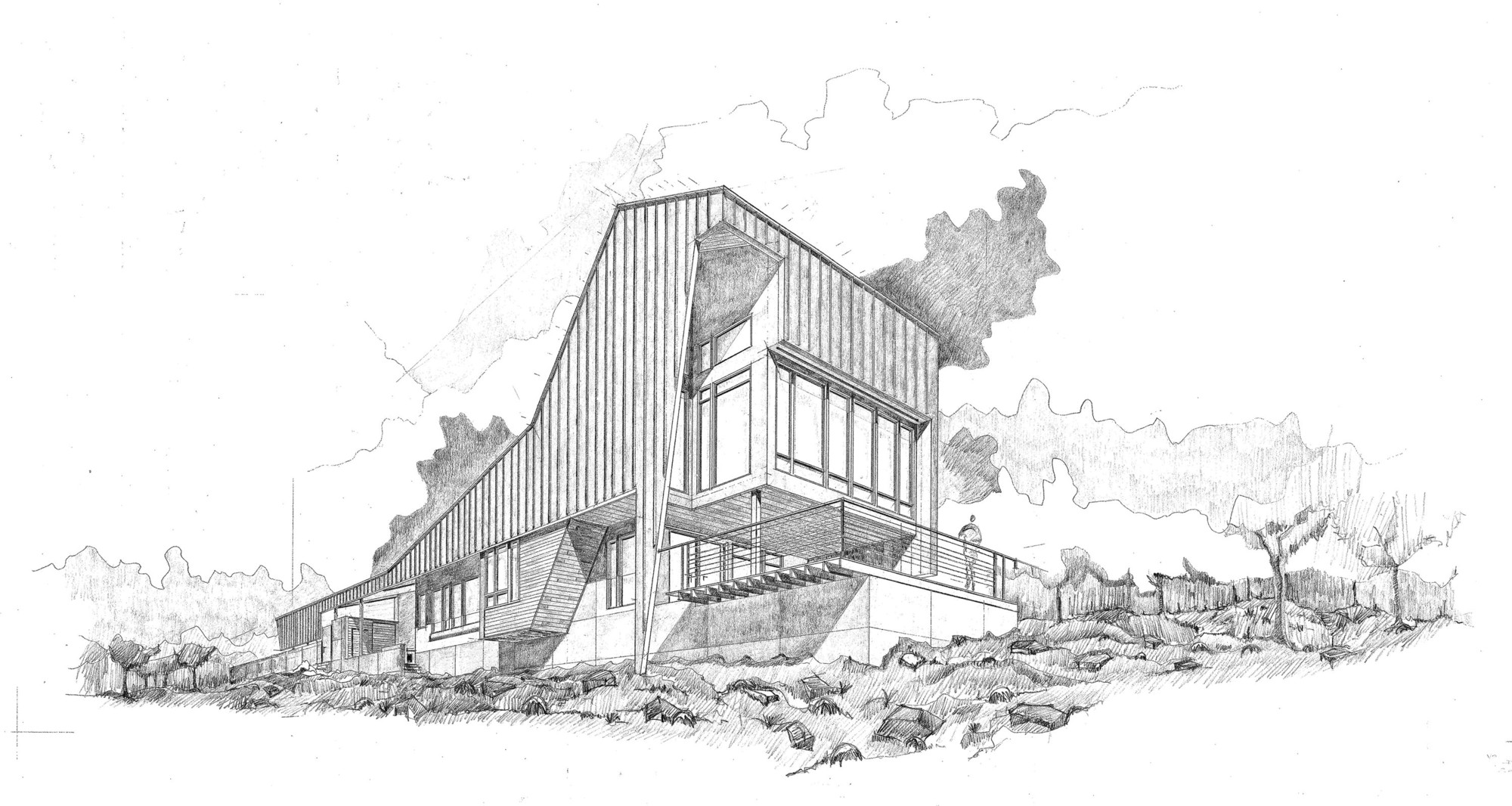 Gallery of round mountain house demx architecture 26 for Architectural drawings for houses
